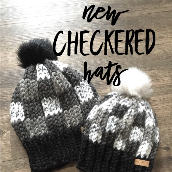 ce262493 Handmade Accessories | Checkered Knit Hat Adult And Child Size ...